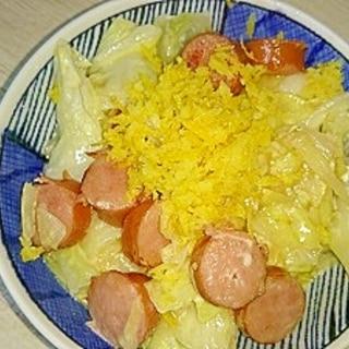 キャベツとウインナーの柚子マヨ炒め