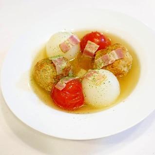 〇&〇&〇!ミートボール&トマト&玉ねぎのスープ煮