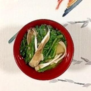 春菊、塩とうふ、舞茸のお味噌汁