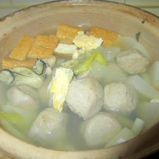 葱と厚揚げ溶き卵の牡蠣つみれスープ