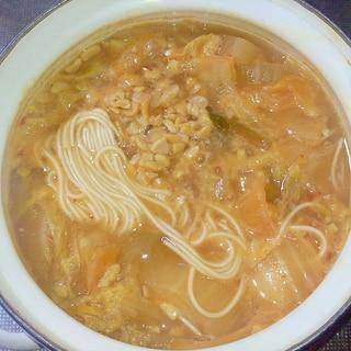豚汁リメイク!納豆キムチにゅうめん++