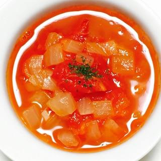 新玉ねぎのトマトスープ