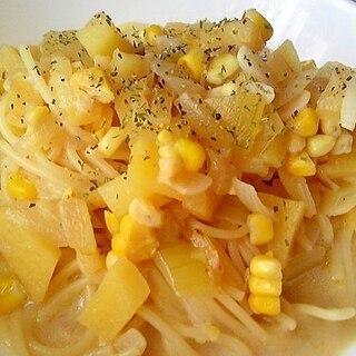 ジャガイモとコーンの豆乳スープパスタ