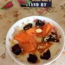 柿とドライプルーンのきな粉豆乳ヨーグルト