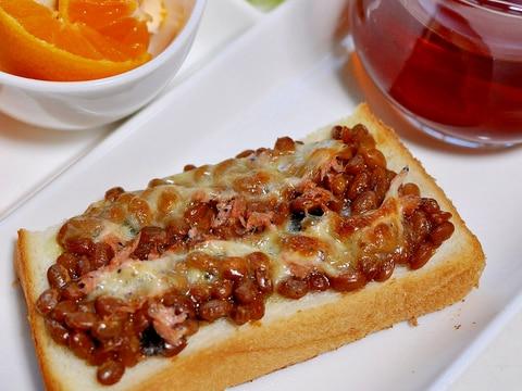 青唐辛子味噌納豆とあみの塩辛トースト
