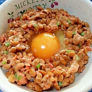 納豆の食べ方-生玉子&鮭♪
