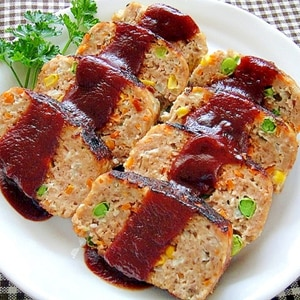 フライパンで☆カラフル野菜入りミートローフ