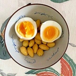 銀杏水煮、ゆで卵のサラダ