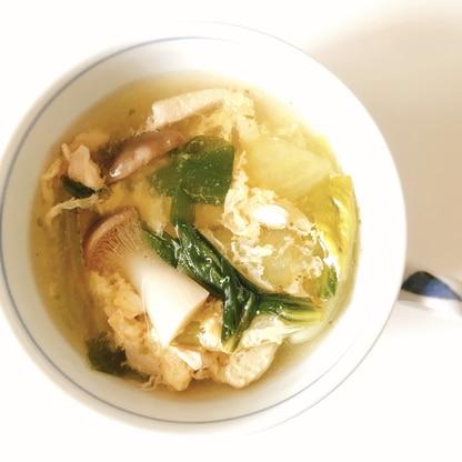エリンギ とチンゲンサイとササミのコンソメスープ