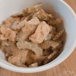 ゴーヤと薄揚げの味噌マヨ炒め