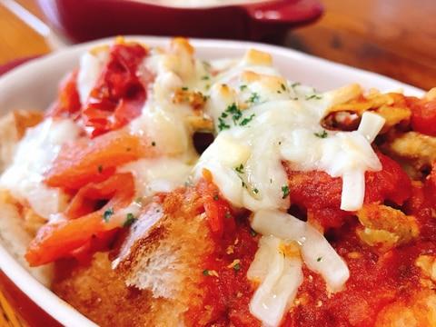 トマトスープでパングラタン カレー風味
