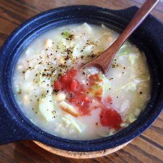 【オートミール】豆とキャベツのスープ