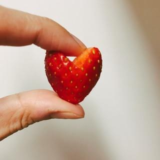 手でつまんですみません!ハートイチゴの切り方♡