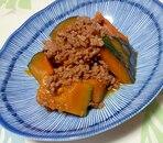 合いびき肉とかぼちゃの甘辛煮
