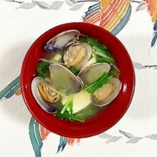 絹ごし豆腐とあさりのお味噌汁