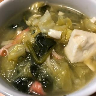キャベツとほうれん草の中華スープ
