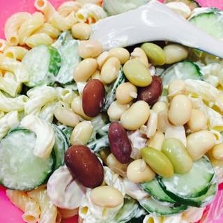 簡単♡豆をいれたマカロニサラダ