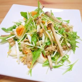肉味噌リメイク!水菜とゆで卵の肉味噌サラダ