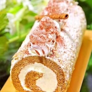 ホットケーキミックスで簡単♡モカロールケーキ