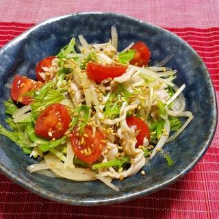 水菜と豚肉のにんにく味噌サラダ
