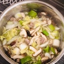 牛肉と白菜、ねぎのたっぷりきのこ鍋