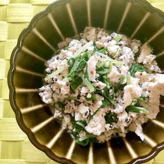 レンジで簡単!ごま入り水菜の白和え風
