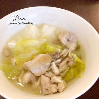 コトコト煮たら‥絶品『餅入りチキン&白菜のスープ』