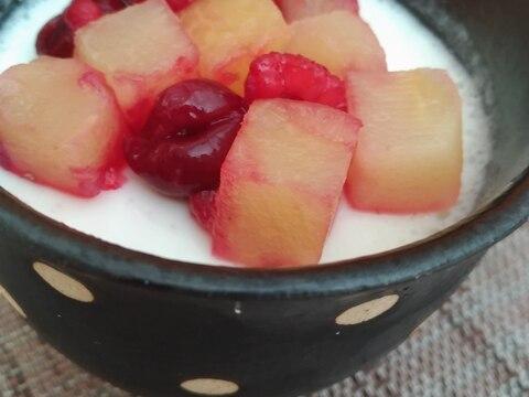 柚子果汁入りヨーグルトの豆乳ミルクゼリー