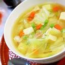 キャベツと高野豆腐とサラダチキンのスープ