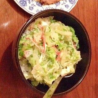 ヘルシー☆白菜とカニカマの卵とじ丼