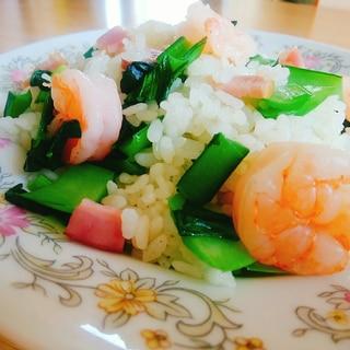 えびと小松菜とベーコンのバターライス