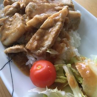 豚の生姜焼きで丼