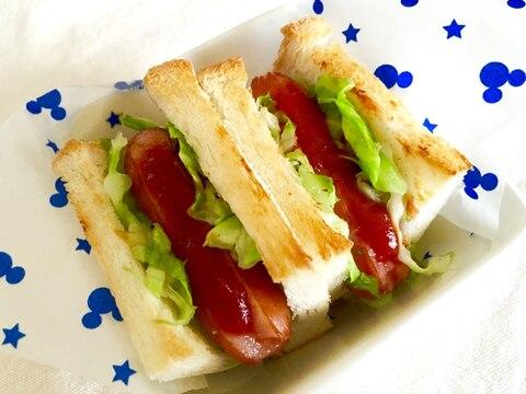 食パンでウィンナーキャベツミニドック♡