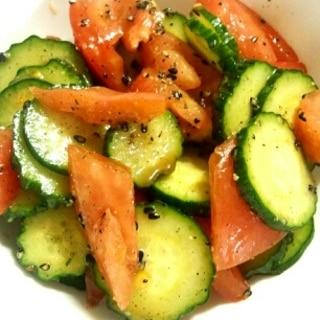 簡単さっぱり美味しい☆きゅうりとトマトの中華和え♪