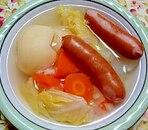 粗挽きウインナーと野菜のスープ
