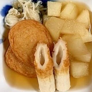 冬瓜、さつま揚げ、ちくわ、小結しらたきの煮物