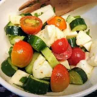 モッツァレラチーズ、トマト、きゅうりのカプレーゼ