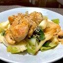 鶏肉とネギの味噌炒め