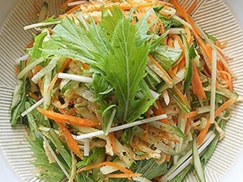 有機切干大根と有機水菜のシャキシャキサラダ