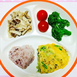 ダイエットの朝食に!キャベツ入り卵焼きワンプレート