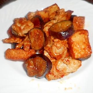 厚揚げ・茄子・豚肉の甘辛炒め