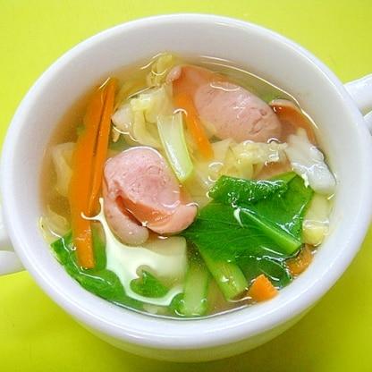 キャベツ人参小松菜のコンソメスープ