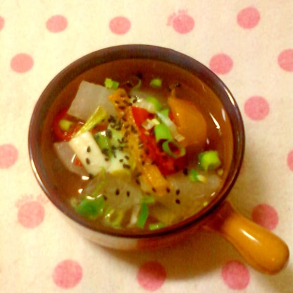 ☆大根とパプリカと小ネギの塩タレ入りスープ☆*:・