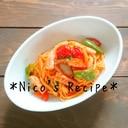 ミニトマトと魚肉ソーセージのナポリタン