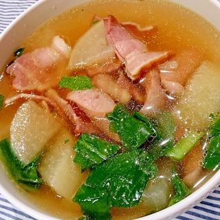 大根とベーコンのコンソメ煮スープ (圧力鍋)