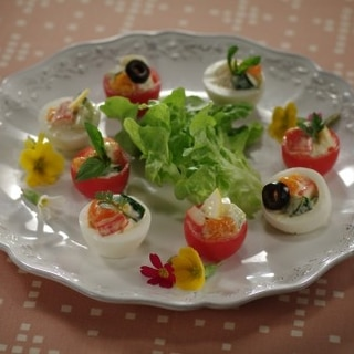 可愛い盛り付けで♪茹で卵とトマトのファルシーサラダ