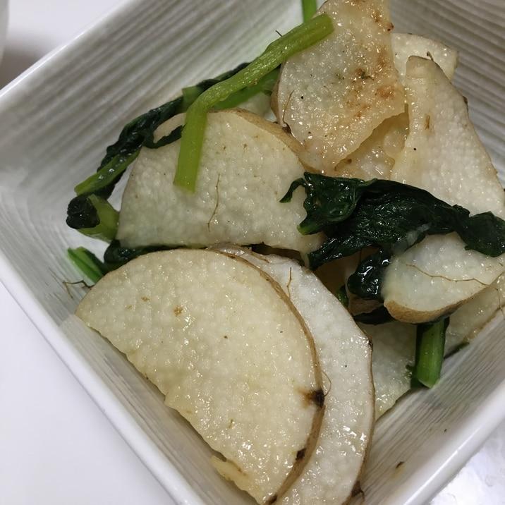 長芋と小松菜の簡単ナンプラー炒め