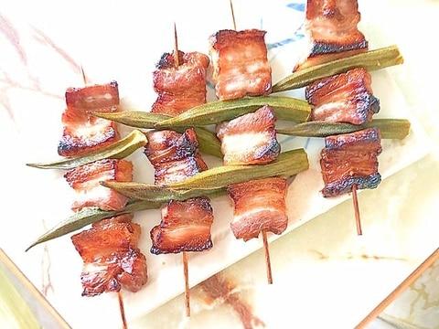 オーブンで焼く!豚バラとオクラの焼き鳥風串焼き♪