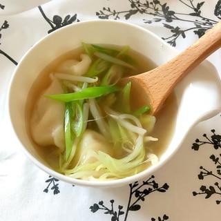 冷凍水餃子でスープ♪