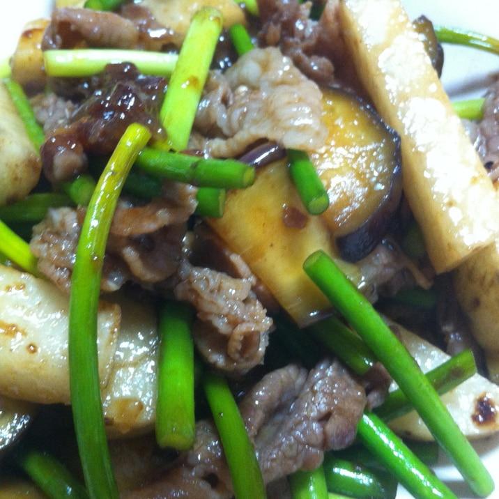 牛肉とにんにくの芽となすと長芋の炒め物